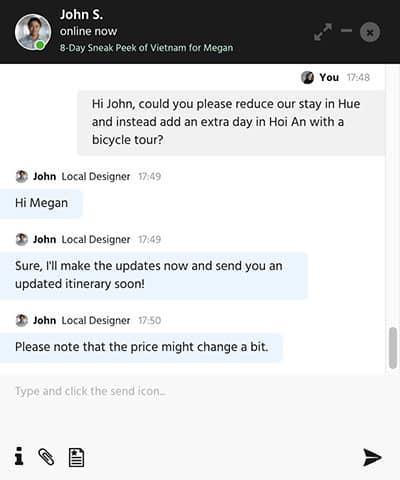 Chat widget by Designer Journeys