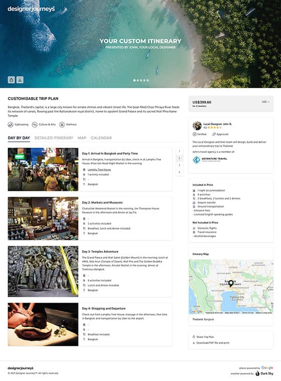 Trip Plan sample by Designer Journeys